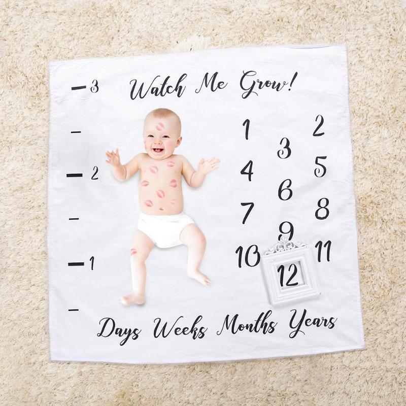 Newborn Baby Letter Milestone Blankets for Photography Photo Props Shoots Decor