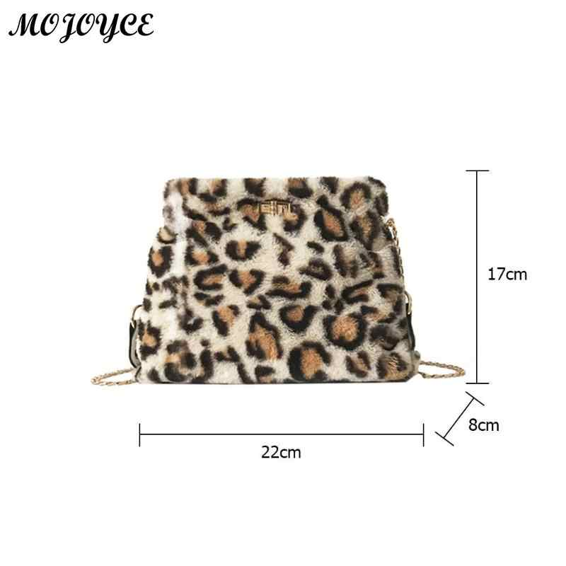 ... Leopard Print Sling Shoulder Bag for Women Chain Plush Crossbody Bags  Fashion Female Messenger Hangbag Bolsa 4459c0158fd2a