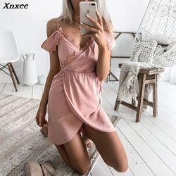 Xnxee seksowna biała sukienka na szelkach odzież damska lato kleider krótka sukienka sukienka moda backless patchwork vestidos jurken 4