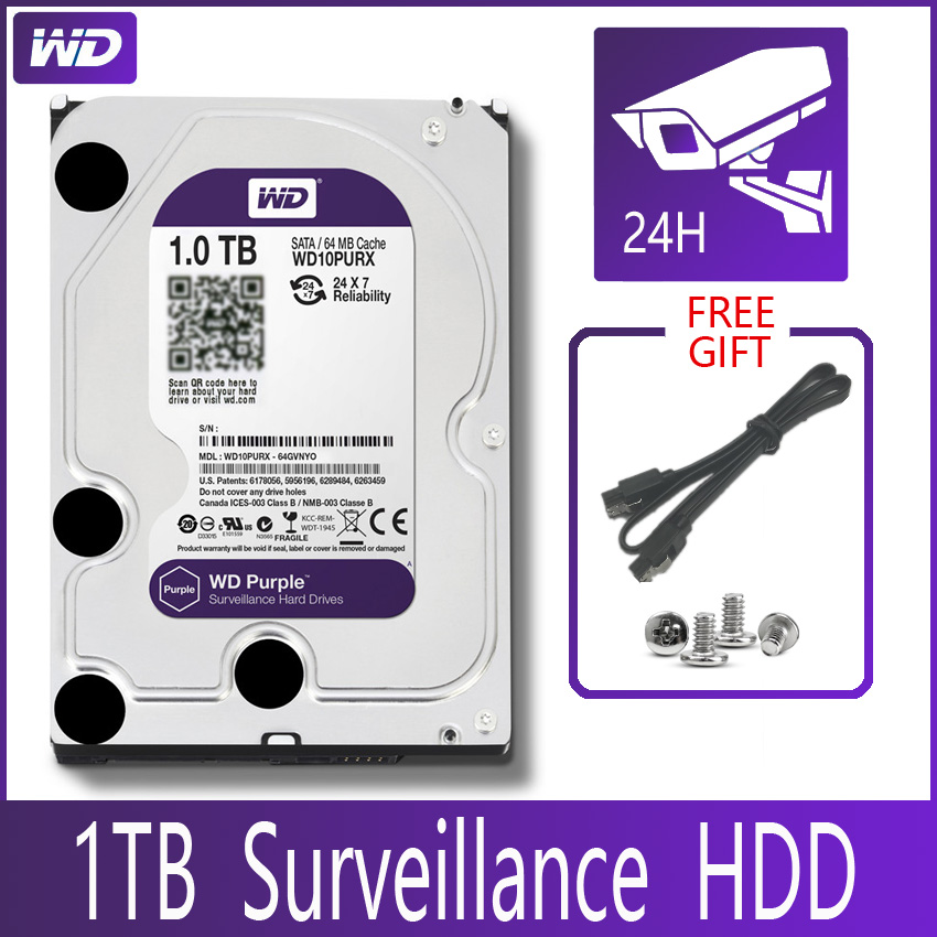 "WD PURPLE Surveillance 1TB Hard Drive Disk SATA III 64M 3.5"" HDD HD Harddisk For Security System Video Recorder DVR NVR CCTV 1"