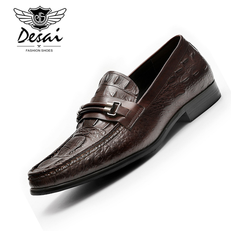 DESAI Black Slip-on Dress Shoes Men Genuine Leather Loafers Mens Business Dress Wedding Shoes Comfortable Flats Large Size ShoeDESAI Black Slip-on Dress Shoes Men Genuine Leather Loafers Mens Business Dress Wedding Shoes Comfortable Flats Large Size Shoe