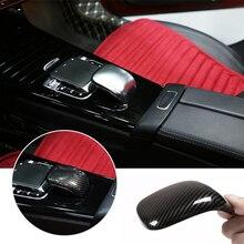 Para mercedes benz classe a 2019 textura de carbono/sliver centro do carro braço shift painel caixa armazenamento capa