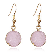 Unique Sparkly Colorful Drusy Round Circle Dangle Earings Pink Quartz Color Resin Stone Druzy Earrings For Women Jewelry E1318(China)