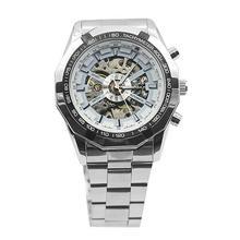 цена на Men Hand-Winding Skeleton Automatic Mechanical Stainless Steel Sport Wrist Watch Military army clock