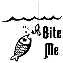 16.2cm*15.8cm Bite Me Fishing Fish Hook Car-Styling Car Sticker Vinyl Decal цена