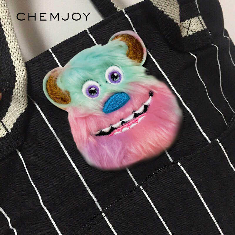Plush Cartoon Monster Patch Iron on Patches for Clothing Jeans Bags Sewing Applique Cute Animal Parches DIY Clothes Stickers