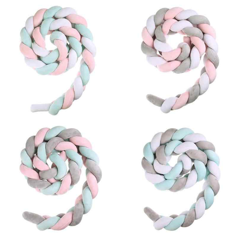 200cm Baby Bed Bumper Four Ply Knot Handmade Long Knotted Braid Weaving Plush Baby Crib Protector Infant Knot Pillow Room Decor