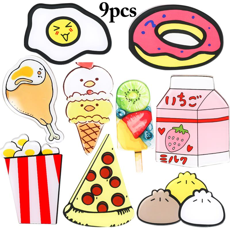 9PCS Cute  Refrigerator Stickers Children Baby Early Education Magnet Cartoon  Refrigerator Magnets Home Decorations