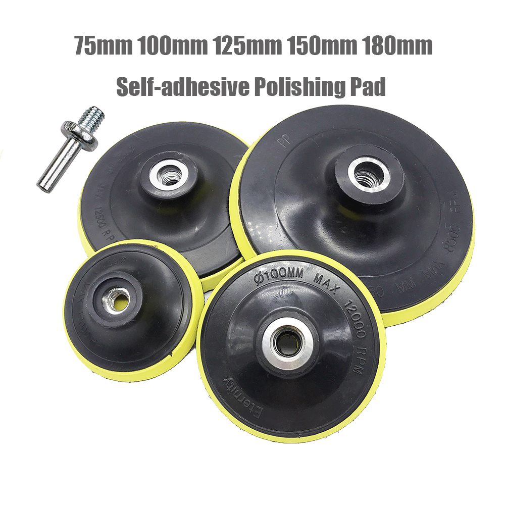 Self-adhesive Disc & Drill Rod For Car Paint Care Polishing Pad 75mm 100mm 125mm 150mm 180mm