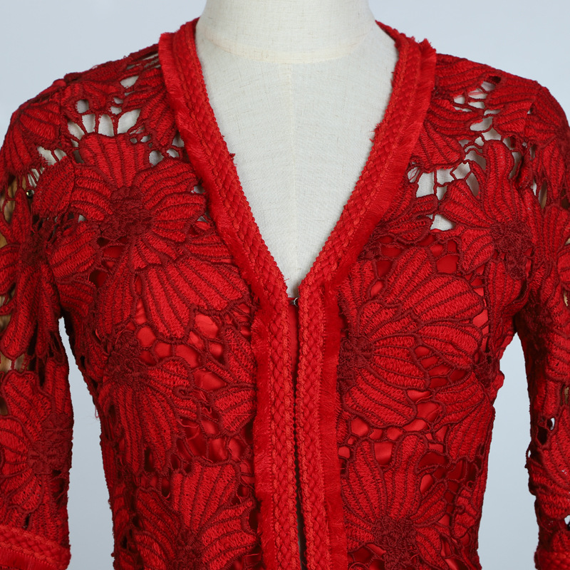 2018 Polyester Regular Full Spring New Turteneck Lace Shirt Perspective Sexy Hook Flower Hollowed out Women's Bottoming shirt - 5
