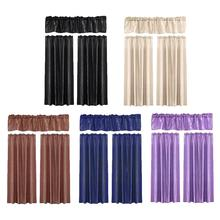 Solid Color Curtain Three-piece Household Modern Minimalist Style Bedroom Balcony Bay Window Shade Pendant