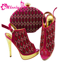 Ladies Italian Shoes and Bag Set Decorated with Rhinestone African Women Party JZC003 ROSE Women Bag and Shoes Set Italy