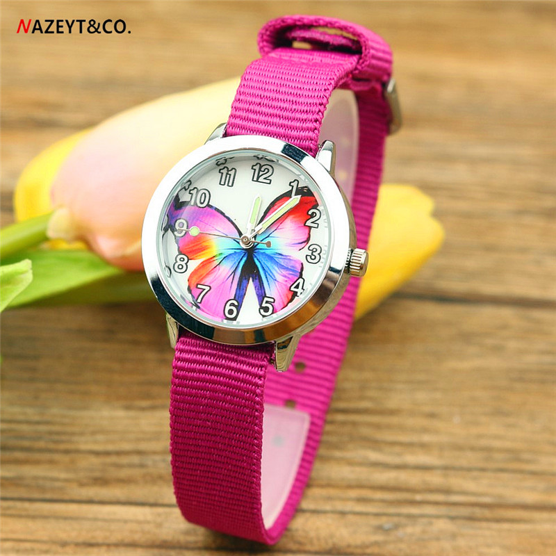 Free Shipping NAZEYT Brand Children Watch Kids Quartz Watch Colorful Butterfly Dial Luminous Hands Little Boys Girls Nylon Watch