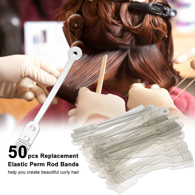 50pcs Perm Rod Bands Replacement Elastic Rubber Bands For Long Professional Perm Rods Curler Roller Hair Styling Tool