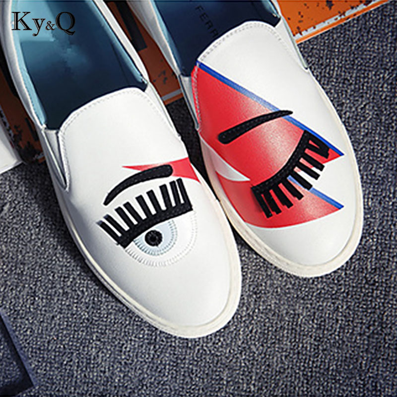 CF Brands White Flats Round Toe Zapatos Mujer Glitter Eyelash Flat  Espadrilles Blink Eye Flat Shoes Womens Lazy Loafers-in Women s Flats from  Shoes on ... fbac150c2a93