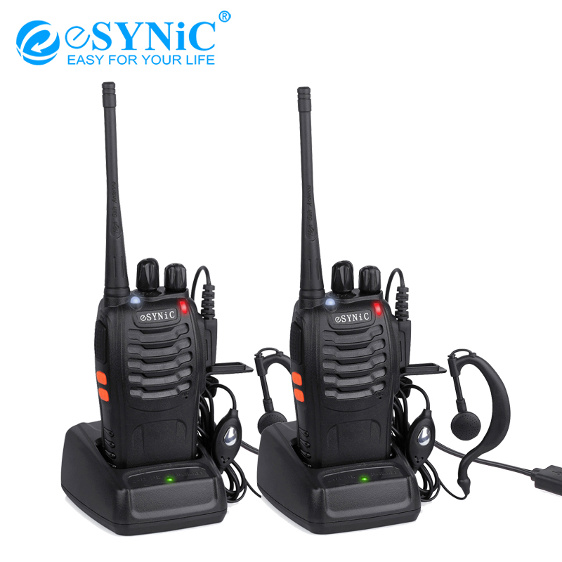 Esynic Walkie Talkie UHF 400 470MHZ 5W16CH 2 Way Radio BF 888S Portable Radio Antenna With USB Charger Two Way Walkie Talkie