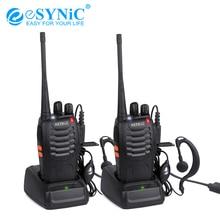 ESYNiC 워키 토키 UHF 400 470 MHZ 5W16CH 2 웨이 라디오 BF 888S 휴대용 라디오 안테나 USB 충전기 양방향 무전기