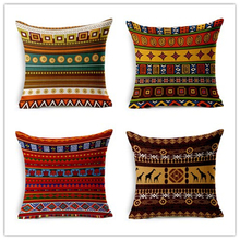Ethnic Style Traditional Pattern Decorative Linen Cushion Cover 45x45 cm For Sofa Chair Pillowcase Home Decor Almofada 05