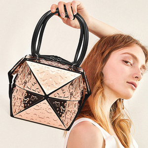 Image 3 - Luxury Female Designer Luminous Deformation Folding Diamond Handbags Geometric Rhombic Fashion Shoulder Bag Women Crossbody Tote