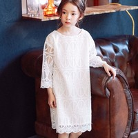 Lace Teenage Princess Dress Girls Party Clothing Straight White Little Girls Dresses For Party And Wedding Spring Summer Clothes