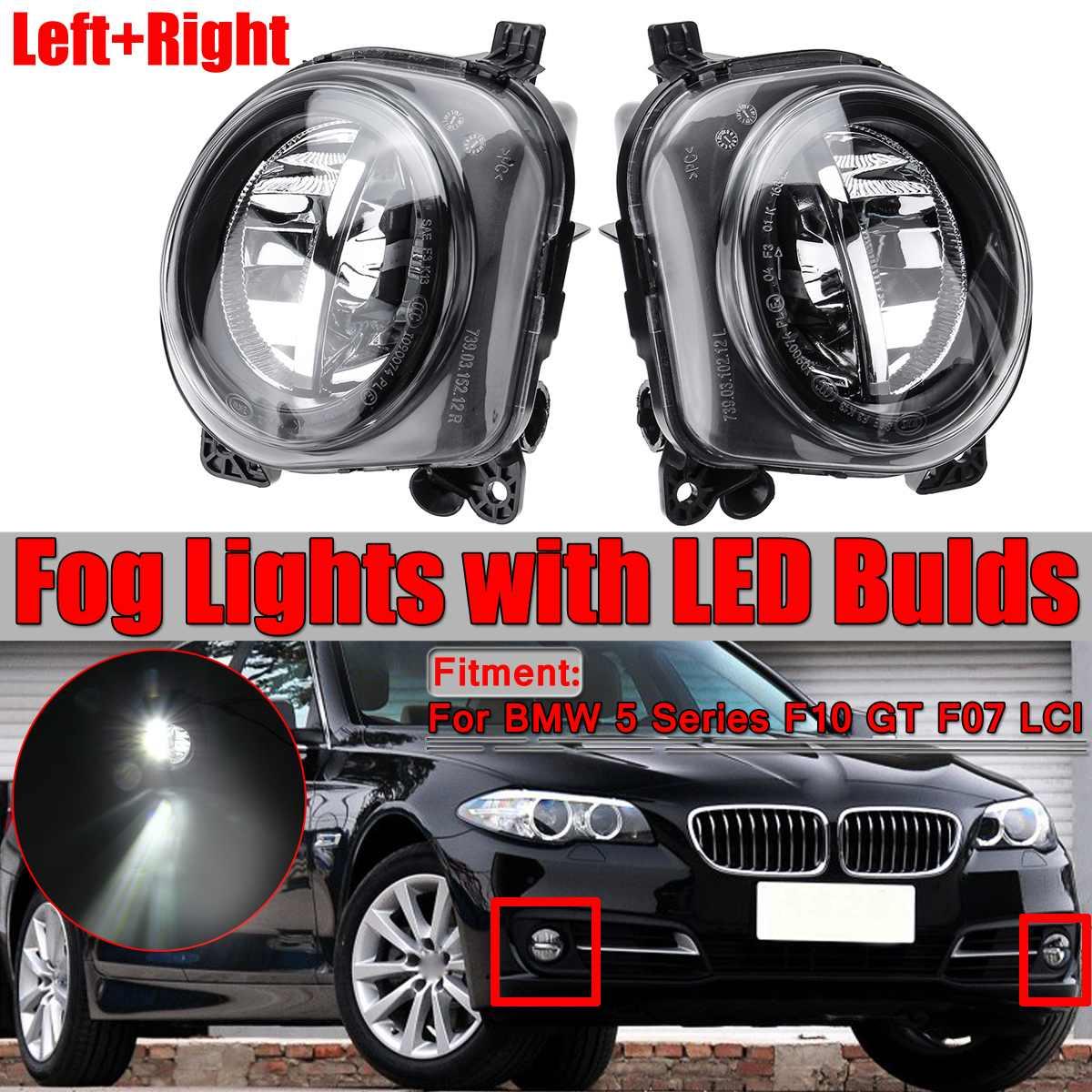 2x LED Light Car Front Fog Light Lamp LED With LED Bulds For BMW 5 Series F07 F10 GT F11 F18 LCI 535i 528i 550i 2013 2014 2015