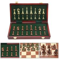 International Chess Set Zinc Alloy Competitive Puzzle Game Foldable Board Outdoor Travel Games Chess Entertainment Accessories