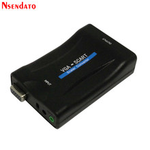 VGA Ke SCART Video Audio Converter Adaptor Video Digital Audio TV Sinyal Conversor dengan Remote Control Power Adaptor Vga Kabel(China)
