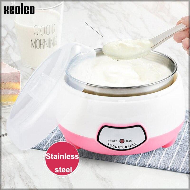 XEOLEO fabricante de Iogurte 1L Automática Iogurte Casa máquina de Iogurte DIY ferramentas utensílio de Cozinha Em aço Inoxidável/PP tanque Rosa 220V