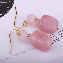 Серьги с камнями геометрические розовые длинные Винтажные серьги