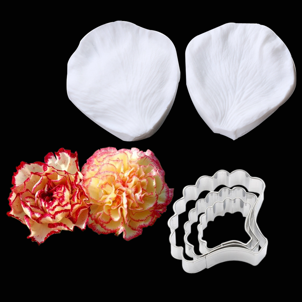 Carnations Veiner Flower Silicone Molds Fondant Gumpaste Resin Clay Water Paper Cake Decorating Tools,Sugarcraft Cutters  CS259