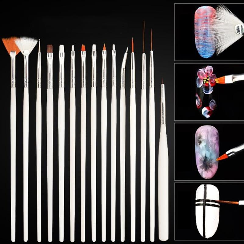 15pcs Plastic Soft Nylon Hair Painting Brush Watercolor Short Miniature Handle Pull Hook Line Pen Nail Artists Set Art Supplies