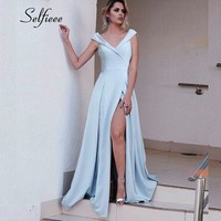 New Fashion Blue Dresses For Woman Robe Femme Elegant A Line V Neck Backless Long Party Dress With High Split Summer Beach Dress
