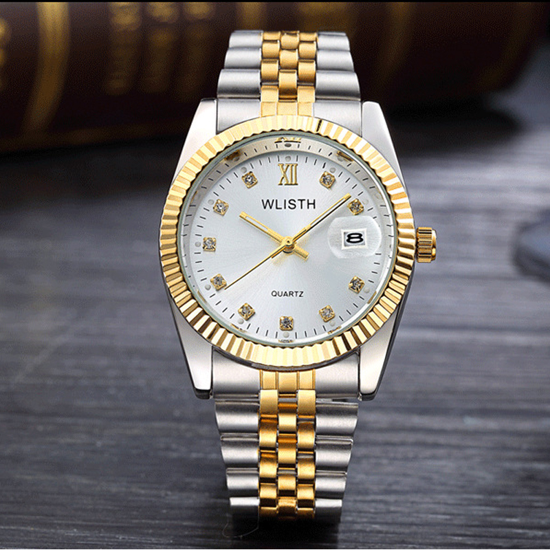 2018 WLISTH Luxury Gold Watch Lady Men Lover Stainless Steel Quartz Waterproof Male Wristwatches For Men Analog Auto Date Clcok(China)