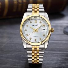 2018 WLISTH luksusowy złoty zegarek Lady Men Lover ze stali nierdzewnej kwarcowy wodoodporny męski męski zegarek na rękę analogowy Auto data clcok tanie tanio QUARTZ Stop Składane zapięcie z bezpieczeństwem 3Bar Moda casual Kompletna kalendarz Odporne na wodę WLISTH Q354 STAINLESS STEEL