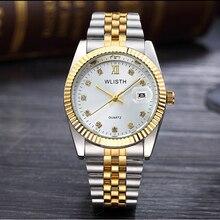 2018 Wlisth Luxe Gouden Horloge Lady Mannen Minnaar Rvs Quartz Waterdichte Mannelijke Horloges Voor Mannen Analoge Auto Datum Clcok