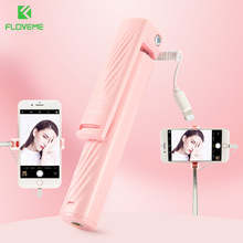 FLOVEME Super Mini Selfie Stick For iPhone 7 8 plus XR X XS MAX Monopod Selfiestick Light Interface Mini Selfie Sticks M4P цена