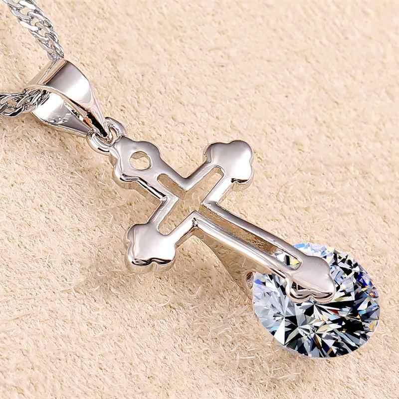 Drop Shipping miedzi inkrustowane stopu cyrkonu krzyż wisiorek naszyjnik Iced Out Rhinestone złoty srebrny Tone krzyż urok biżuterii