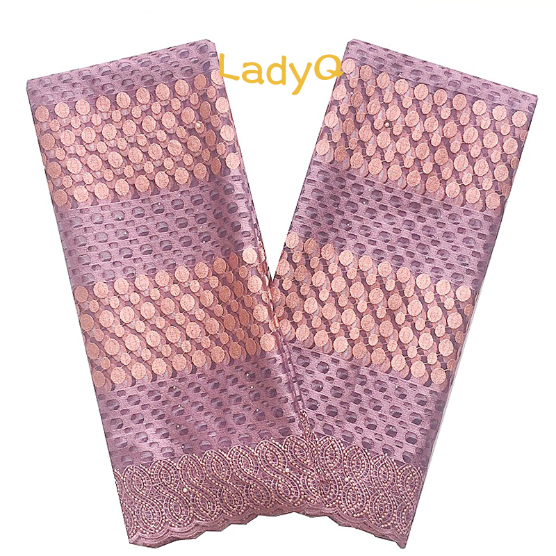 Image 5 - Nigerian High Quality African Tulle Lace Fabric 2018 Peach Gold 