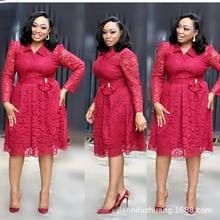 المرأة الأفريقية حجم كبير فستان L 4XL 2019 جديد أزياء من الدانتل نمط فستان أفريقي أنيق