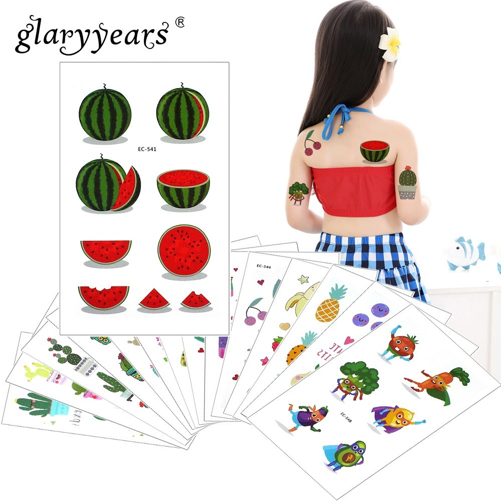 Glaryyears 1 Sheet Temporary Tattoo Sticker Fruit Fake Tatoo Fashion Flash Tatto Waterproof Small Body Art Children 25 Designs