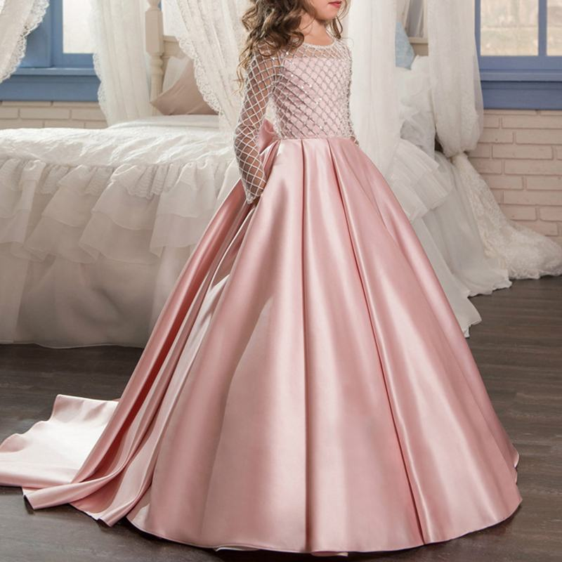 Sweet Princess Girls Dress Long Sleeve Pleated Big Bowknot Trailing Christmas Dress Wedding New Year Party Costumes For 4Y-15YSweet Princess Girls Dress Long Sleeve Pleated Big Bowknot Trailing Christmas Dress Wedding New Year Party Costumes For 4Y-15Y