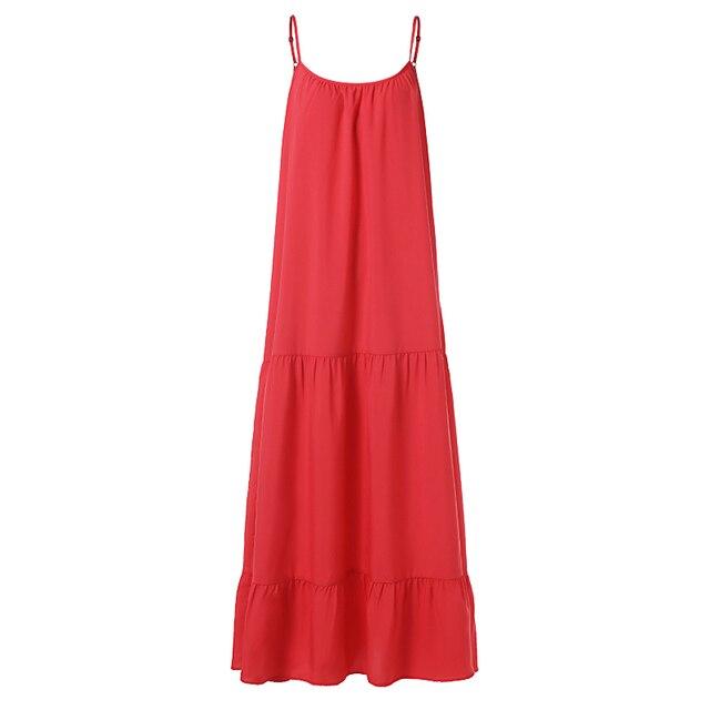 VONDA Bohemian Dress Women 2019 Summer Sexy Sleeveless Spaghetti Strap Ruffle Swings Maxi Long Dresses Holiday Vestido Plus Size 5
