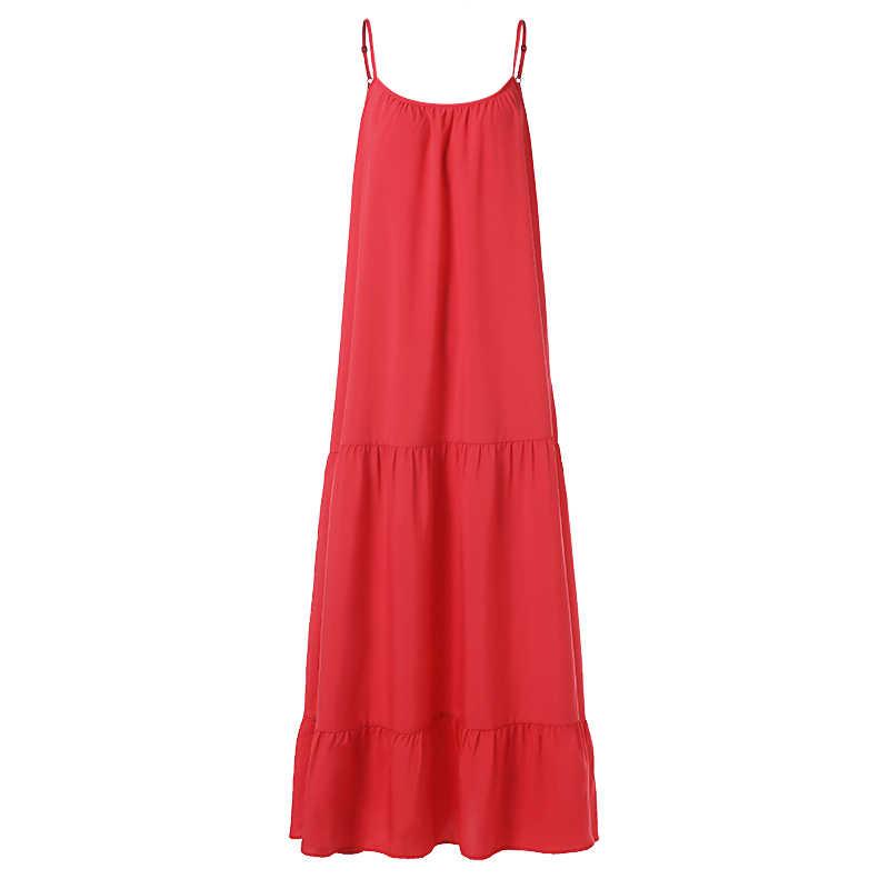 VONDA 보헤미안 드레스 여성 2020 여름 섹시한 민소매 스파게티 스트랩 프릴 스윙 맥시 롱 드레스 Holiday Vestido Plus Size