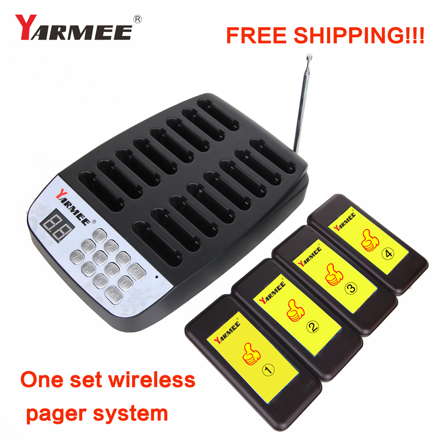 YARMEE 16 Restaurant Call Coaster Pagers Guest Waiting Pager Wireless Paging System With Charging Dock and