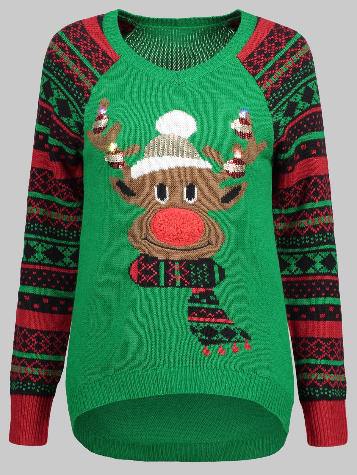 2018 Christmas Sweatshirts Womens Merry Christmas Plus Size Pullover Deer Elk Printed Skew Neck Sweatshirt Men's Clothing