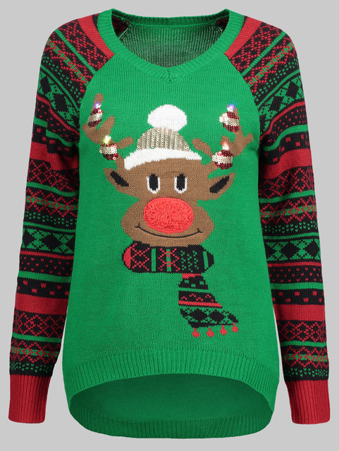 Plus Size Ugly Christmas Sweater.Us 18 61 45 Off Wipalo Women Plus Size V Neck Elk Ugly Christmas Sweater Geometric Print Sleeve Casual Fall Winter Warm Sweater Ladies Pullover In