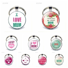 I Love Mom Keychain Quote Glass Dome Cabochon DIY Key Chain Ring Pendant Flatback Jewelry Women Mother Day Gift