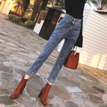 The quality of the original net new red pants straight jeans female han edition tall waist loose show thin nine minutes pa