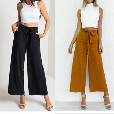 2019 Women Casual Loose Wide Leg Pants Vintage Elastic Waist Trousers Casual Cotton Blend Oversized Solid Long Pants