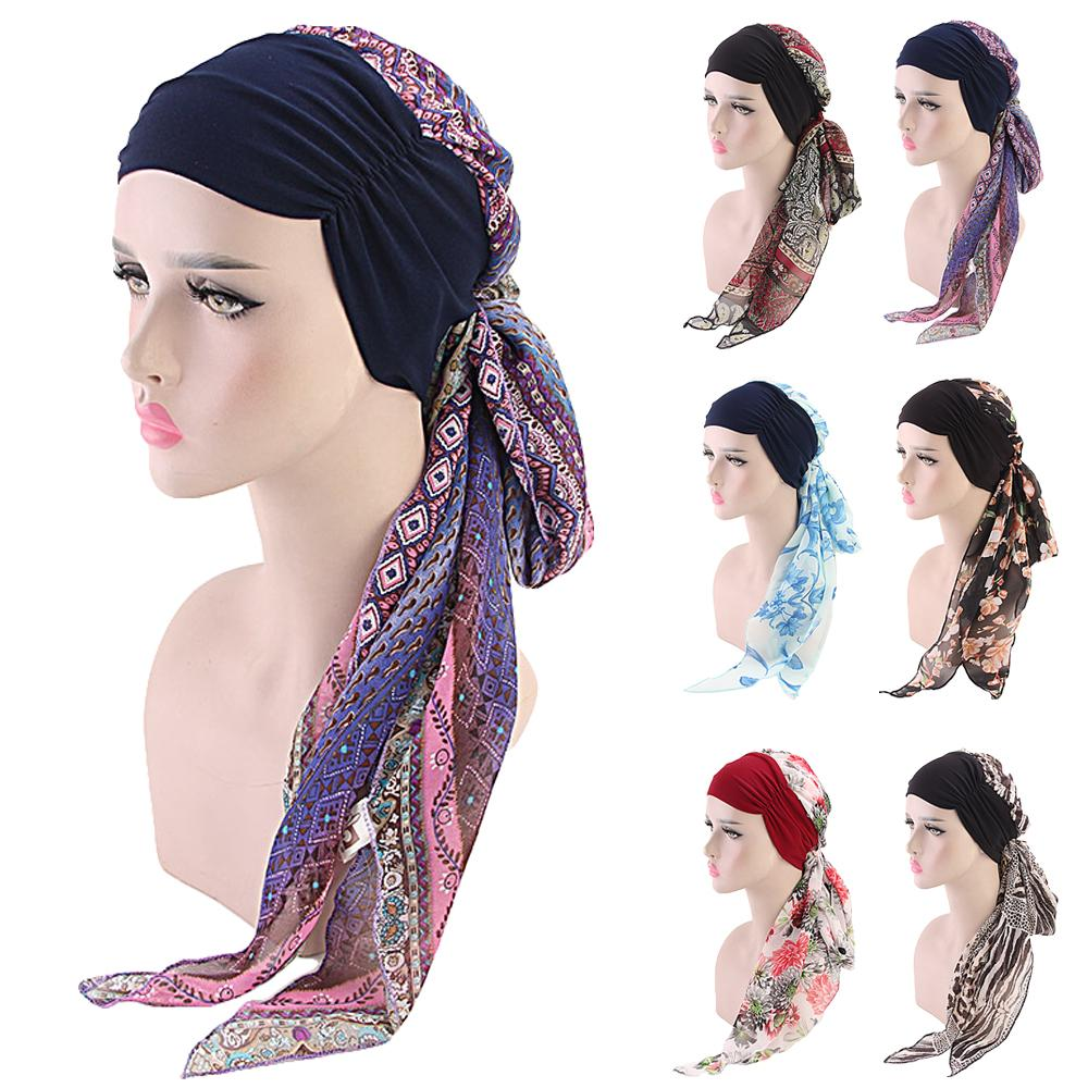 Muslim Women Printed Hijabs Hats Turban Head Head Scarf Chemo Cancer Cap Hair Loss Hat Long Tail Bow Bonnet Wide Band Wrap Caps